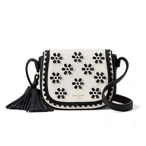Kate Spade Black White Flower Crossbody Purse Bag